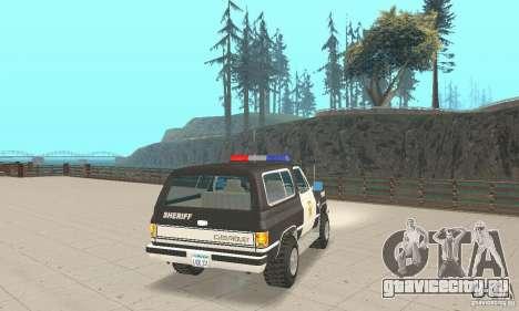 Chevrolet Blazer Sheriff Edition для GTA San Andreas вид сзади слева