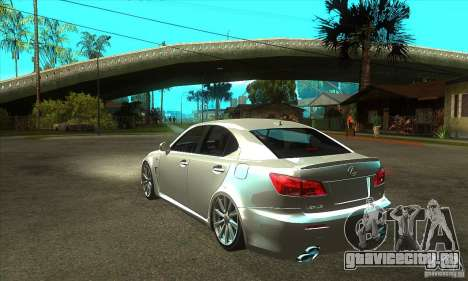 Lexus IS F 2009 для GTA San Andreas вид сзади