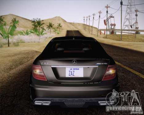 Mercedes-Benz C63 AMG Black Series для GTA San Andreas вид сзади
