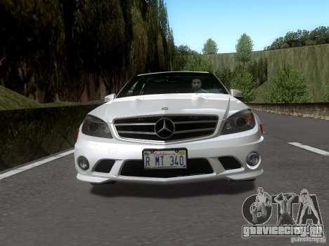 Mercedes-Benz C63 AMG 2010 для GTA San Andreas вид сзади слева