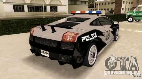 Lamborghini Gallardo Police для GTA Vice City вид сзади слева