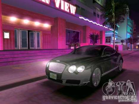 Bentley Continental GT для GTA Vice City вид сзади