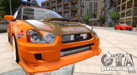 Subaru Impreza WRX STi GDB Team Orange для GTA 4 вид сзади