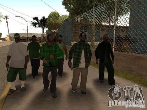Новые скины банды Grove Street для GTA San Andreas четвёртый скриншот