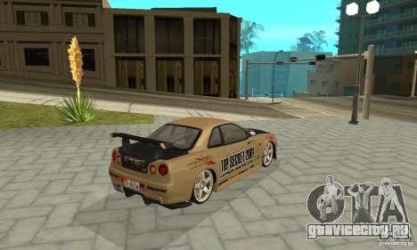Nissan Skyline R-34 GTR для GTA San Andreas колёса