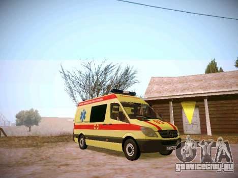 Mercedes Benz Sprinter Ambulance для GTA San Andreas вид сзади слева