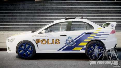 Mitsubishi Evolution X Police Car [ELS] для GTA 4 вид изнутри