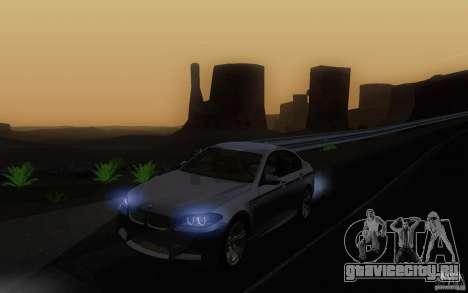 BMW M5 2012 для GTA San Andreas вид изнутри