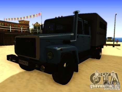 ГАЗ 3309 Двухрядный для GTA San Andreas вид сзади слева