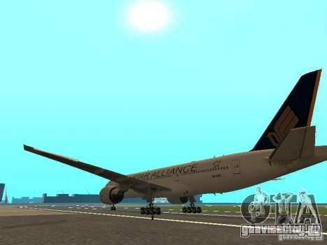 Boeing 777-200 Singapore Airlines для GTA San Andreas вид сзади слева