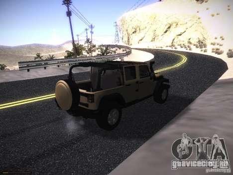 Jeep Wrangler Rubicon Unlimited 2012 для GTA San Andreas вид сзади слева