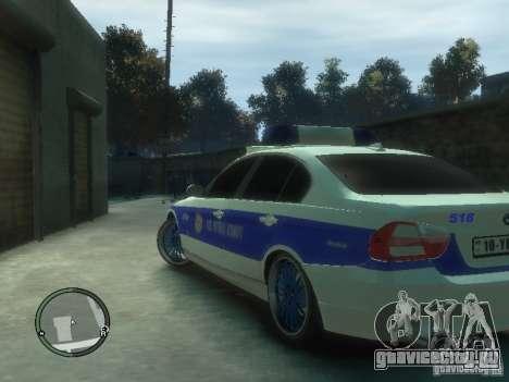BMW 320i Police для GTA 4 вид сзади слева