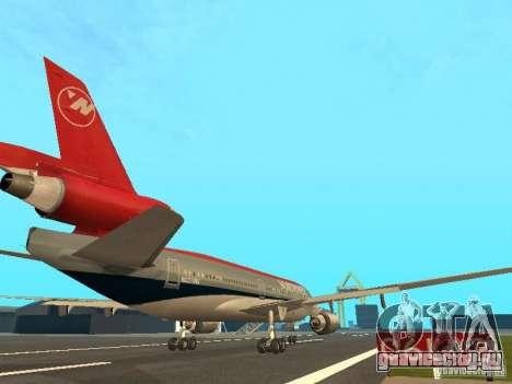 McDonell Douglas DC 10 Nortwest Airlines для GTA San Andreas вид сзади