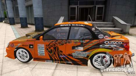 Subaru Impreza WRX STi GDB Team Orange для GTA 4 вид сзади слева