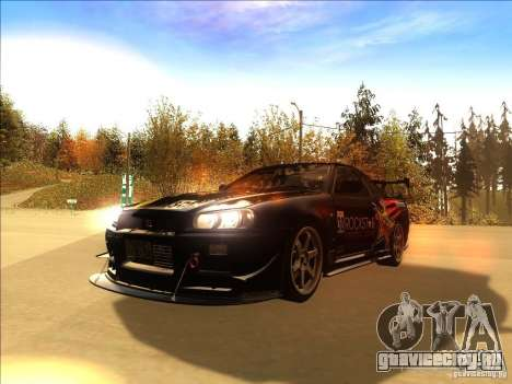 Nissan Skyline GT-R BNR34 Tunable для GTA San Andreas вид сбоку