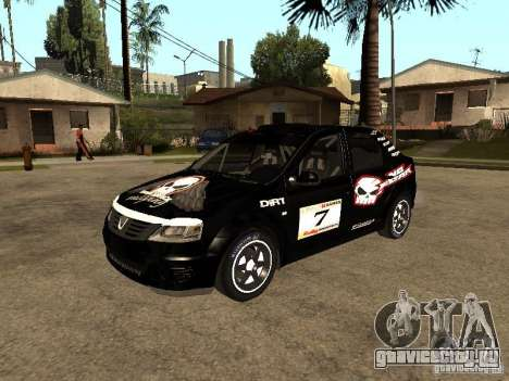 Dacia Logan Rally Dirt для GTA San Andreas вид снизу