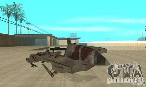 Star Wars speedbike для GTA San Andreas вид сзади слева