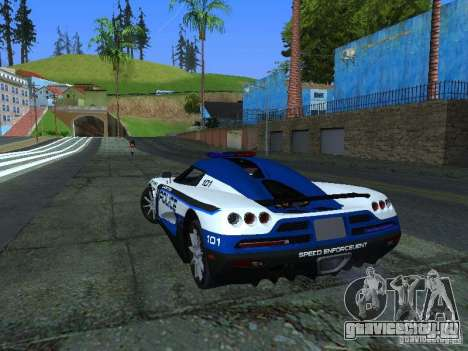 Koenigsegg CCX Police для GTA San Andreas вид сзади слева