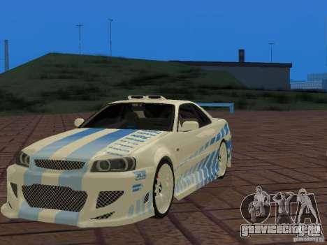 Nissan Skyline GT-R R34 Tunable для GTA San Andreas вид сбоку
