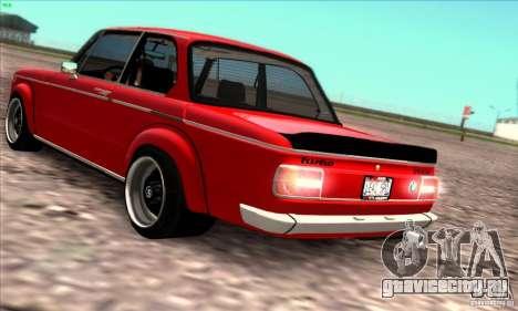 BMW 2002 Turbo для GTA San Andreas вид изнутри
