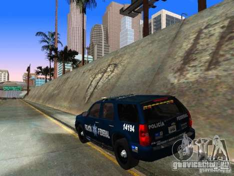 Chevrolet Tahoe 2008 Police Federal для GTA San Andreas вид сзади слева