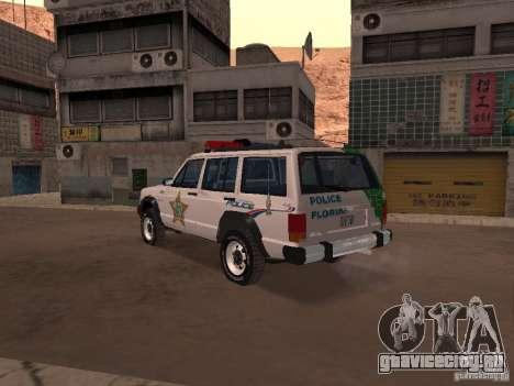 Jeep Cherokee Police 1988 для GTA San Andreas вид сзади слева