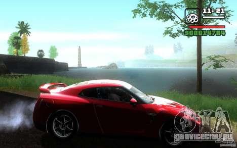 Nissan GTR R35 Spec-V 2010 для GTA San Andreas вид сзади слева