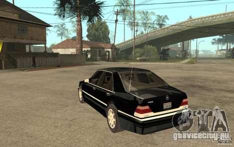 Mercedes-Benz S600 V12 W140 1998 V1.3 для GTA San Andreas вид сзади слева