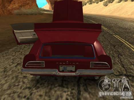Pontiac Firebird 1970 для GTA San Andreas вид сзади