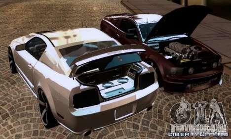 Ford Mustang GTS для GTA San Andreas вид изнутри