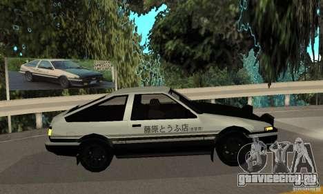 Toyota Sprinter Trueno GT-APEX AE86 83 Initial D для GTA San Andreas вид сзади слева