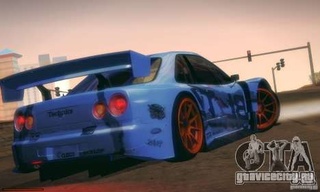 Nissan Skyline Touring R34 Blitz для GTA San Andreas вид сзади