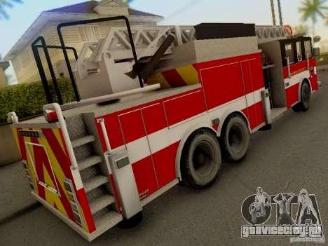 Pierce Firetruck Ladder SA Fire Department для GTA San Andreas вид сзади