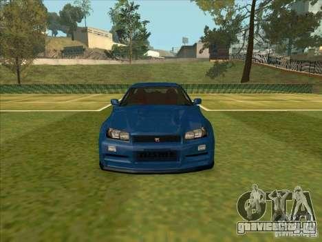 Nissan Skyline GT-R R34 from FnF 4 для GTA San Andreas вид изнутри