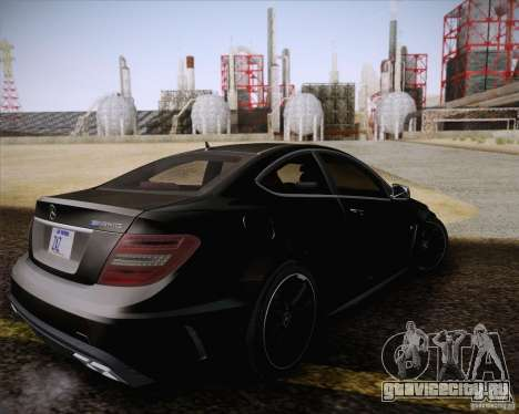 Mercedes-Benz C63 AMG Black Series для GTA San Andreas вид изнутри