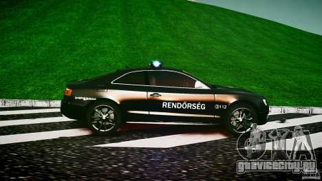 Audi S5 Hungarian Police Car black body для GTA 4 вид слева