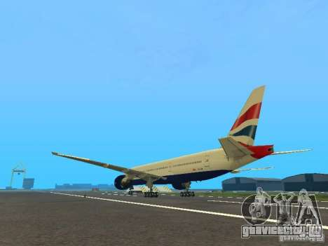 Boeing 777-200 British Airways для GTA San Andreas вид сзади слева