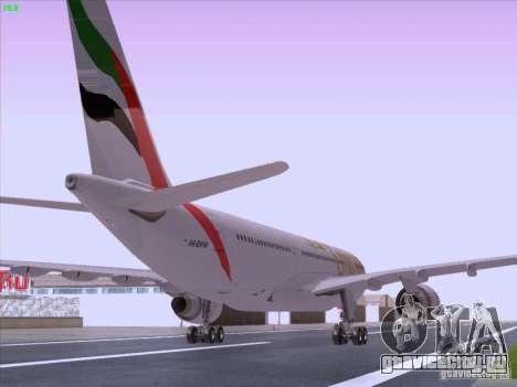 Airbus A330-200 Emirates для GTA San Andreas вид сзади слева