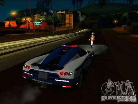 Koenigsegg CCX Police для GTA San Andreas вид изнутри