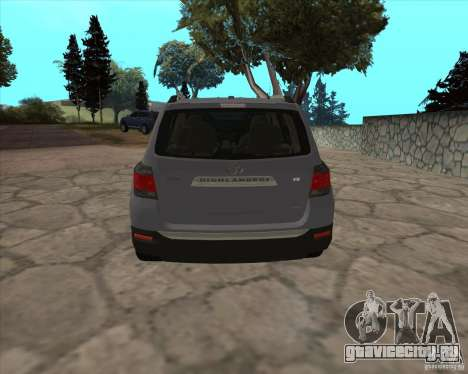 Toyota Highlander для GTA San Andreas вид сзади слева