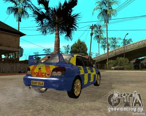 Subaru Impreza STi police для GTA San Andreas вид сзади слева