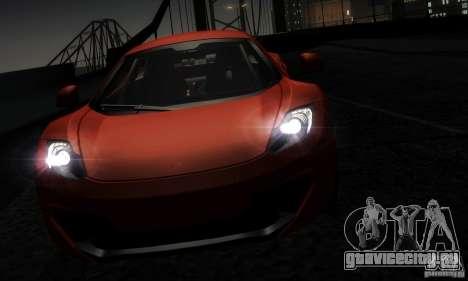 McLaren MP4-12C TT Black Revel для GTA San Andreas вид изнутри