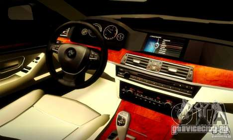 BMW 550i F10 для GTA San Andreas вид сзади