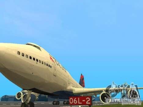 Boeing 747-400 Delta Airlines для GTA San Andreas вид изнутри