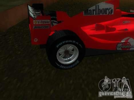 Ferrari F1 для GTA San Andreas вид сзади слева