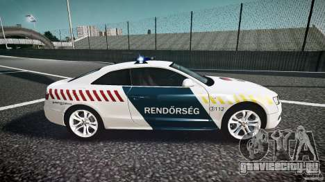 Audi S5 Hungarian Police Car white body для GTA 4 вид изнутри