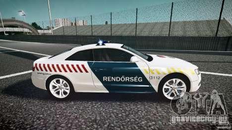 Audi S5 Hungarian Police Car white body для GTA 4 вид изнутри
