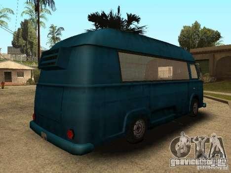 Гражданский Hotdog Van для GTA San Andreas вид сзади слева