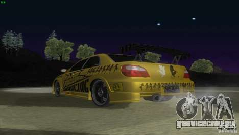 Subaru Impreza WRX No Fear для GTA San Andreas вид сзади