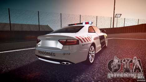 Audi S5 Hungarian Police Car white body для GTA 4 вид сбоку